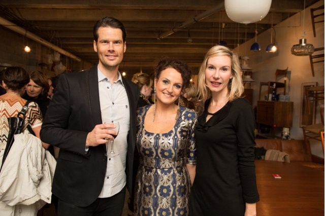 Emma Hart (centre) with friends on the opening night