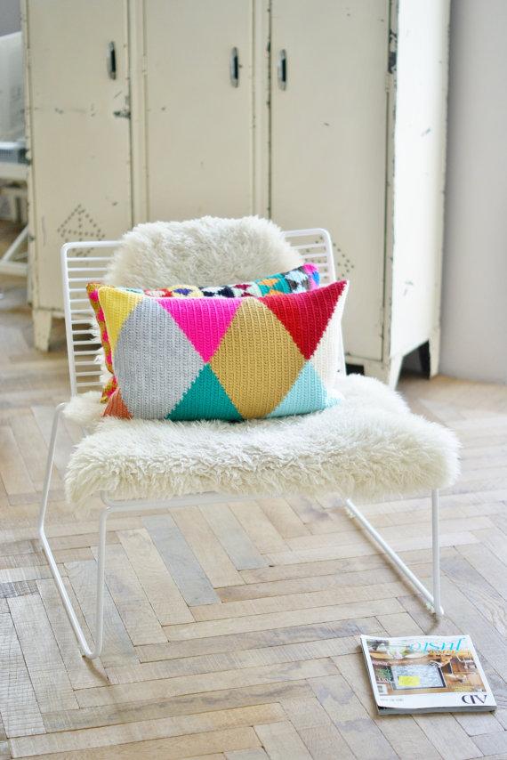 wool harlequin cushion